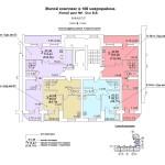 ж.д №1 в 106 мкр План 9 этажа подъезд №2блок-оси 8-9.