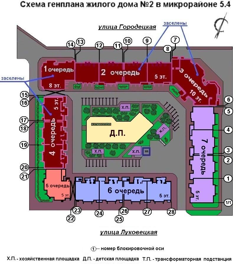схема генплана ж.д. №2 в 5.4
